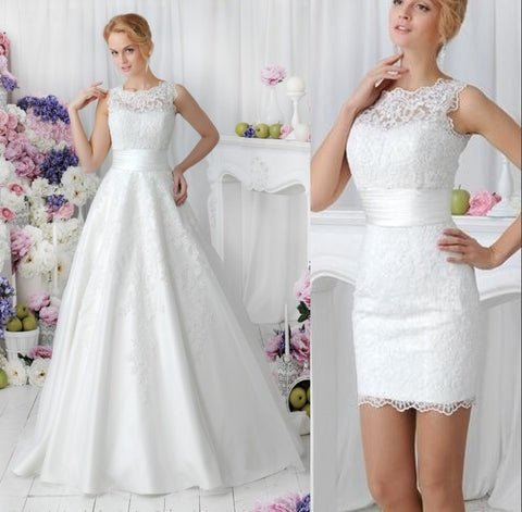 2 in 1 Style Vintage Lace With Detachable Skirt Vestido  Bridal Gown robe bride dress