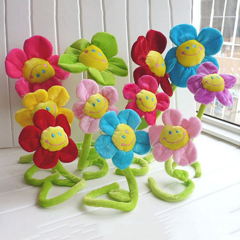 Children's 30cm stuffed plush plants toys Room decorations Curtain clip sunflower Plush toys 8 colors Kids girls' gift