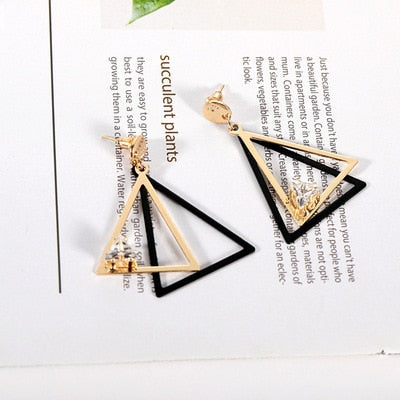 Creative Minimalist Geometric Drop Earrings For Women Simple Metal Square Girl Female Jewelry Accessories