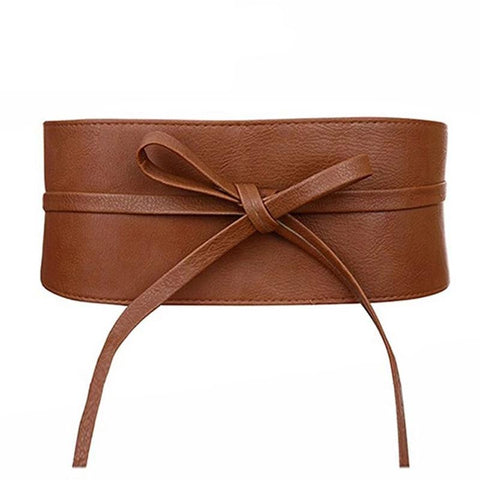 Boho Belt for Women Bowknot Faux Leather Wrap Around Style Cinch Waistband Black Cummerbund Brown Women Belt