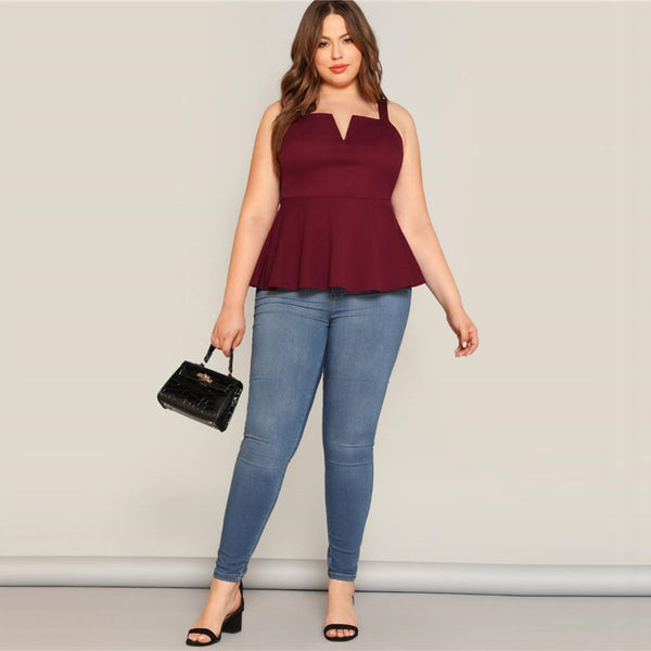 Plus Size V-Cut Neck Peplum Top Women Summer Burgundy Elegant Ruffle Hem Vest camisole Sexy Solid Camis Tops