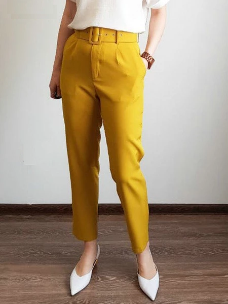 Black suit pants woman high waist pants sashes pockets office ladies pants fashion middle aged pink yellow pants