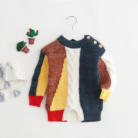 In Baby Girl Sweater Artistic Stitching Of Long-sleeved Sweater Jacket For Outwear For Autumn Infants Boys And Girls