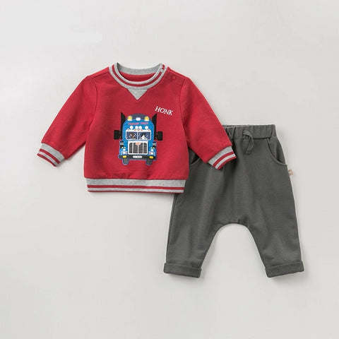 Autumn spring baby boys fashion clothing sets  long sleeve suits children red print clothes