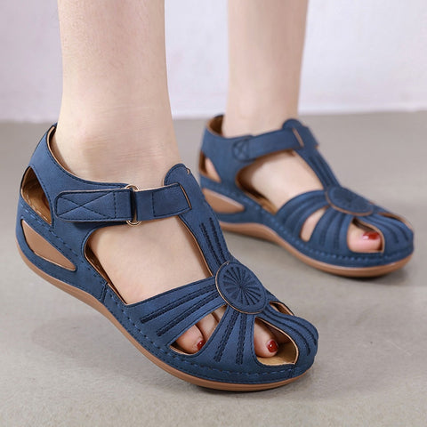 Summer Women Girls Roman Hollow Round Toe Sandals Wedge Solid Shoes High Quality Simple Heel Heel Pumps Beach Shoes