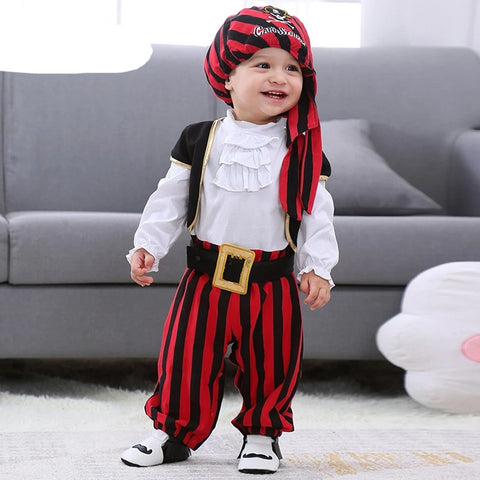 Baby Boy 0-1 Y Infant Pirate Captain Cosplay Clothes for Boys Halloween Christ Christmas Tie Rompers + Vest +pants