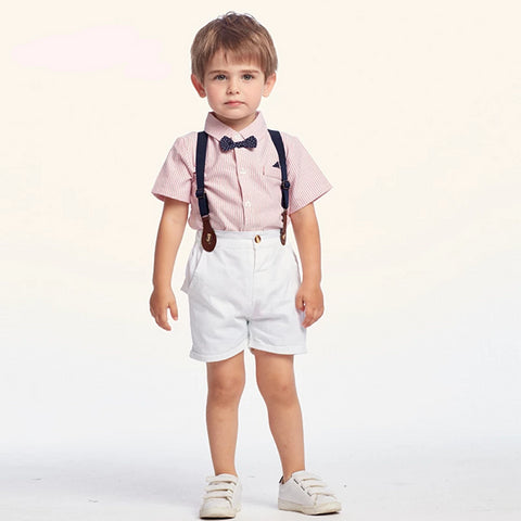 Baby Spring And Summer Clothes Kids Suits handsome shirt Suit Boy Baby Set Children Bow tie Striped Overalls Tie Clothing