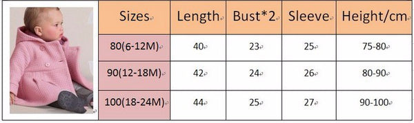 Winter Baby Girls Coats Infant Jackets Trench Jacket Children Overcoat Bebe Poncho Girl Hooded Outerwear Newborn Clothes