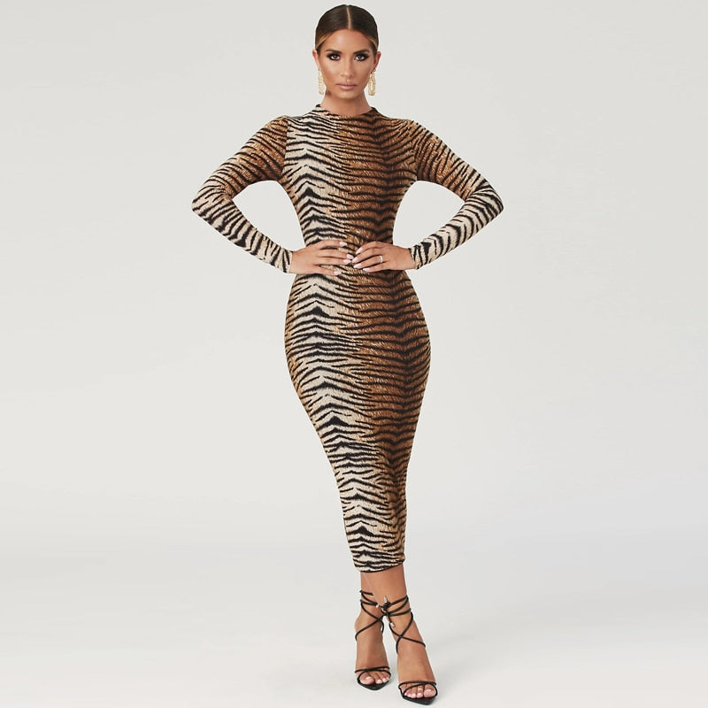 leopard print long sleeve slim bodycon sexy dress autumn winter women streetwear party festival dresses outfits