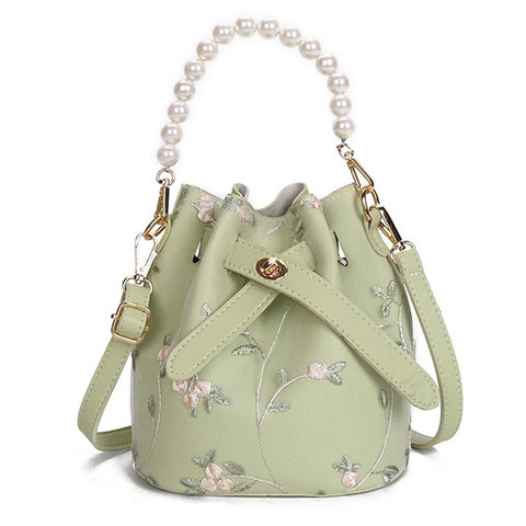 Summer New Women Bucket Bag Lace Shoulder Messenger Bag Pearl Handbag Floral Embroidered Small Beach Phone Bag