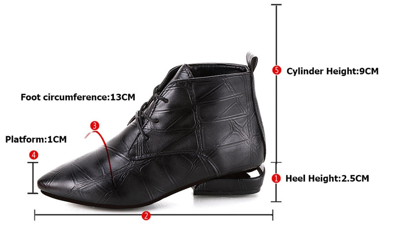Fashion Women Boots Casual Leather Low High Heels Spring Shoes Woman Pointed Toe Rubber Ankle Boots Black Red
