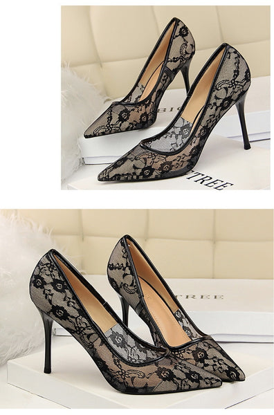 Sexy Party Wedding Formal Dress Pumps Women's Stiletto High Heel Shoes Pointed Toe Mesh Cutout Lace Embroidery Pumps