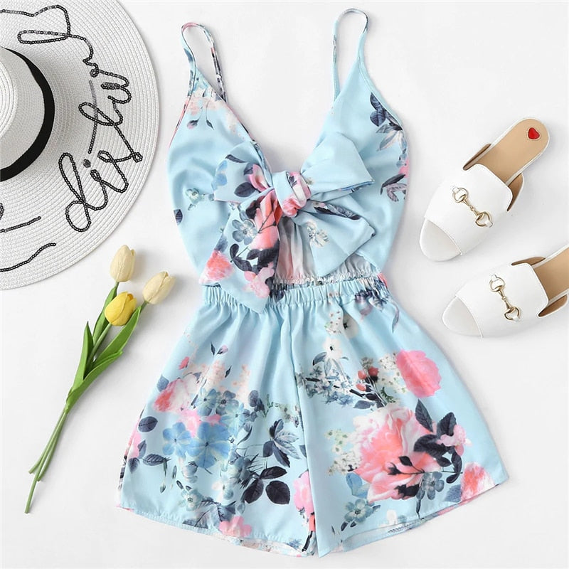 Tie Front Floral Print Cami Romper Women Boho Summer Vacation Sleeveless Wide Leg High Waist One Piece Playsuit