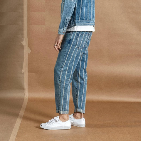 Autumn New Ankle-length Jeans Men Fashion Hip Hop Back Striped Fashion Streetwear Denim Plus Size Trousers