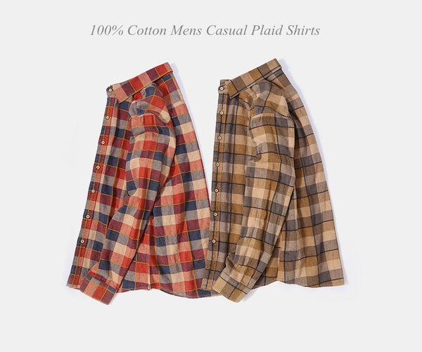 Autumn Red Plaid Casual Shirts Men Blouse Long Sleeve 100% Cotton Mens Dress Shirt Retro Style Social Shirt Male
