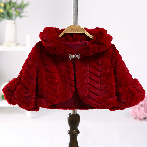 Winter Faux Fur Girls Jackets Baby Coats Clothes Kids Cape Coat Warm Cloak Cardigan Children Clothing Girls Outerwear 3-10Y