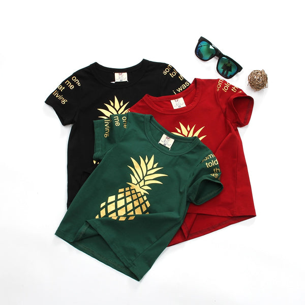 Cute Cotton Little Kids Girls Golden Pineapple Top T Shirt Top Quality Comfortable Fabric Shirt For Child Boy Tee Shirt
