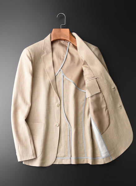 Blazer Man New 90% Linen 10% Cotton Suit Jacket Spring Autumn Casual Male Single Breasted High Quality Size M-4XL