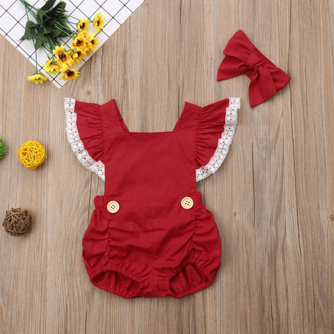Emmababy Toddler Baby Girls Lace Summer Hot Sale Sleeveless Backless Romper Outfits Clothes 0-24M