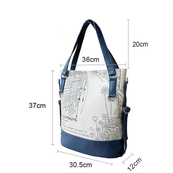 Flower Princess Women Canvas Shoulder Bags Large Capacity Handbags Tote High Quality Ladies Tote Bag Teenager Girl School Bag
