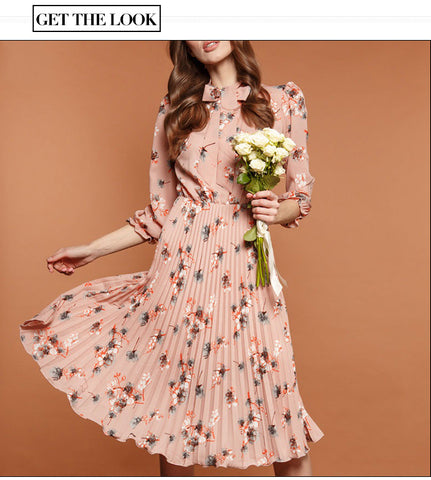 Black Flower Print A-line Dress Autumn Elegant New Fashion Party Vestidos Casual Dress For Female