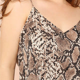 Plus Size Snake Skin High Street Women Camis Sleeveless Spaghetti Strap Tops