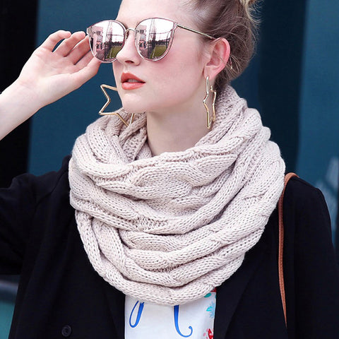 Knitted Snood Scarf Warm Winter Women Scarf Cashmere Snood For Women Scarf Infinity Scarves Neck Circle Ring Scarf
