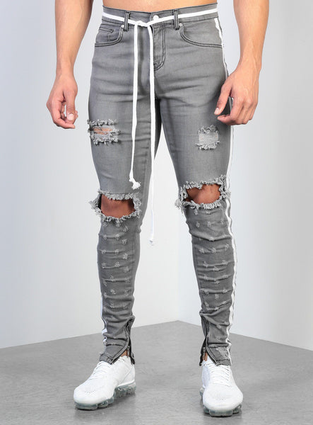 Streetwear Men s Jeans Gray  Skinny male Ripped Jeans Side Taped Homme Hip Hop denim pants