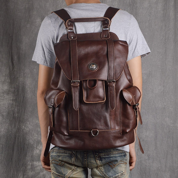 New leather men's shoulder bag European and American fashion first layer of leather multi-functional travel bag casual bac