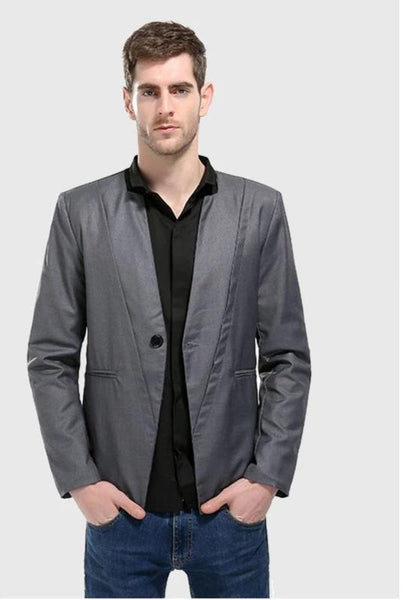 Male Blazer Clothes Men New Autumn One Button Suit Simple Solid Color Long Sleeve Black Suit Collar Straight Style