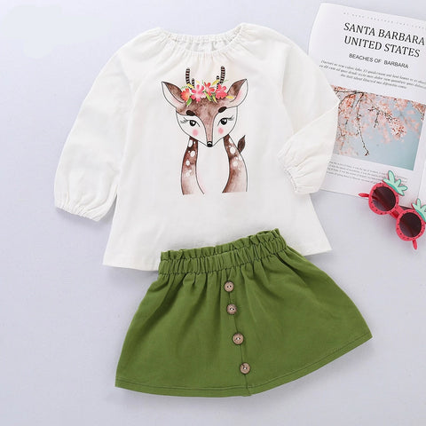 Baby Girls Clothes Set Long Sleeve Cute Deer Printed Blouse Shirt and Green Skirt Toddler Girls Spring Clothing Suit New Style