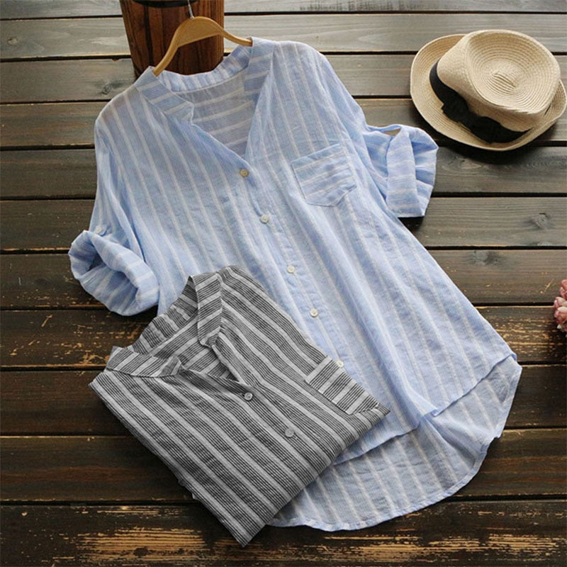Women Linen Blouse Autumn Top Female Casual 3/4 Sleeve Shirt Mujer Striped Work Blusa Ladies Sexy V Neck Vestidos