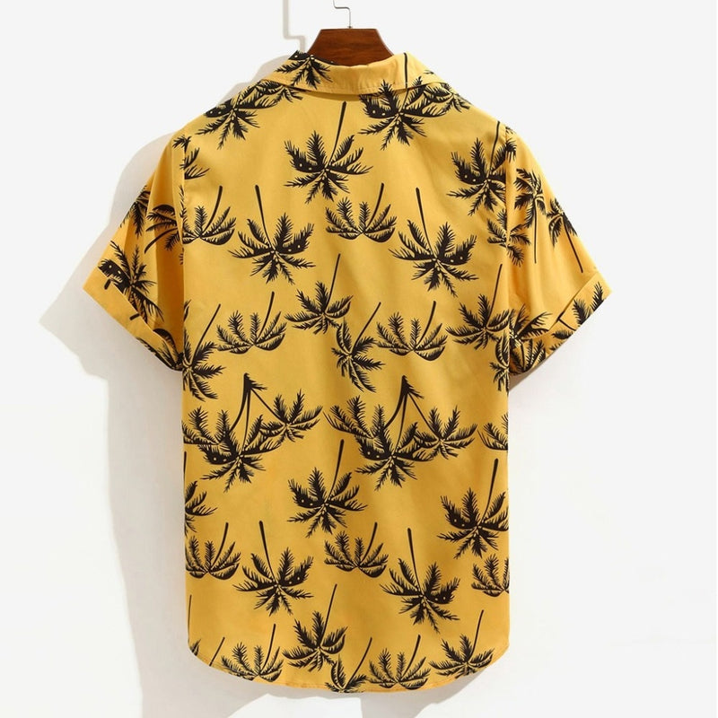 Casual Men's shirt Summer Printed Short sleeve shirt Casual Loose Beachwear Buttons Male blusa
