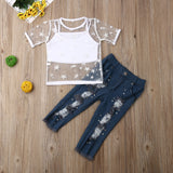 New Kids Girls 1-6Y Clothes Sets Outfits Short Sleeve Mesh T-shirt & Tank Tops+ Denim Pants holiday