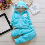 boys clothing sets winter cotton thicken clothing  sets children kids cartoon blue velvet 2pcs