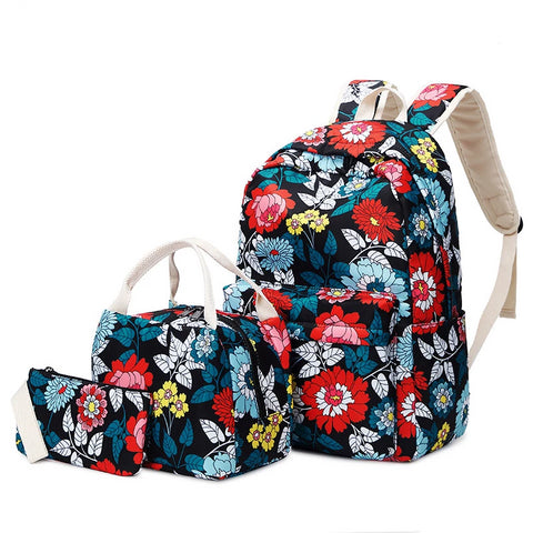 3pcs/set style teen girl school backpack flowers school bags for women girls floral backpack bookbag pencil bag
