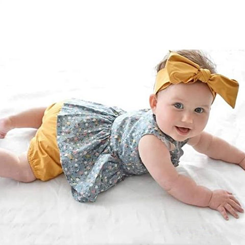 Summer Sleeveless Floral Buttons Tops Shorts Headband Costume Clothing 3PCS Outfits Toddler Kids Baby Girls Clothes Set