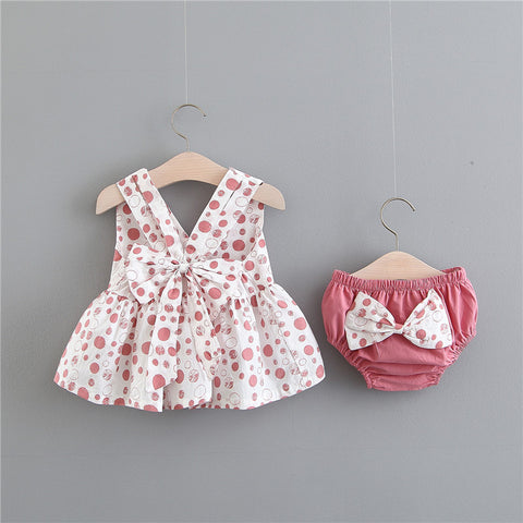 Infantil Carters Official Store Children's Clothes, Pure Color Bow Behind Dot With Suit Pants Of Summer