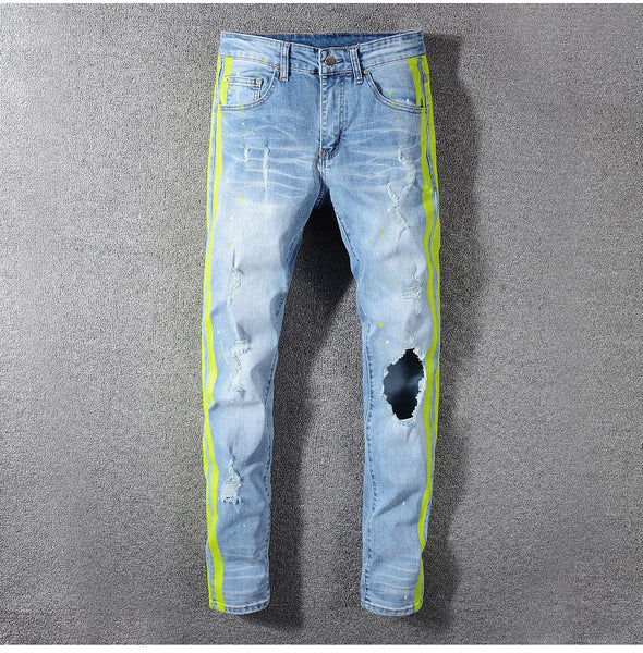 Men's neon yellow color lines patchwork ripped jeans Fashion holes destroyed denim stretch pants