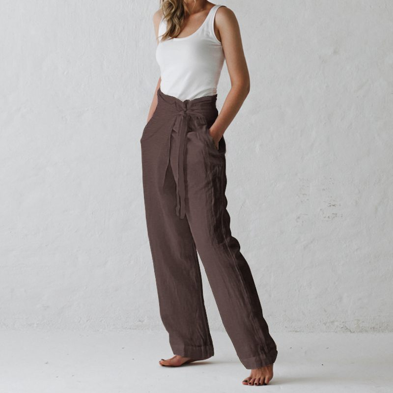 Celmia Women Vintage Cotton Wide Leg Pants Summer Ladies Bottoms Casual Loose Harem Pant Pockets Long Pantalon Plus Size