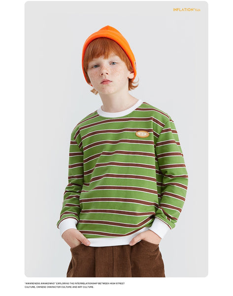 Autumn Kids Stripe T-shirt Boys Girls Cotton Long Sleeve Tops Shirt Streetwear Loose Fit T shirt