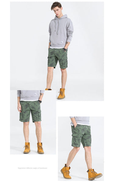 Summer Shorts Men 98% Cotton Retro vintage print Mens Shorts Simple Wild High Quality Non-marking Male Shorts