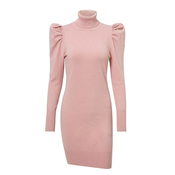 Turtle neck bodycon knitted dress women Puff shoulder pink sweater dress winter female Sexy ladies autumn short vestidos