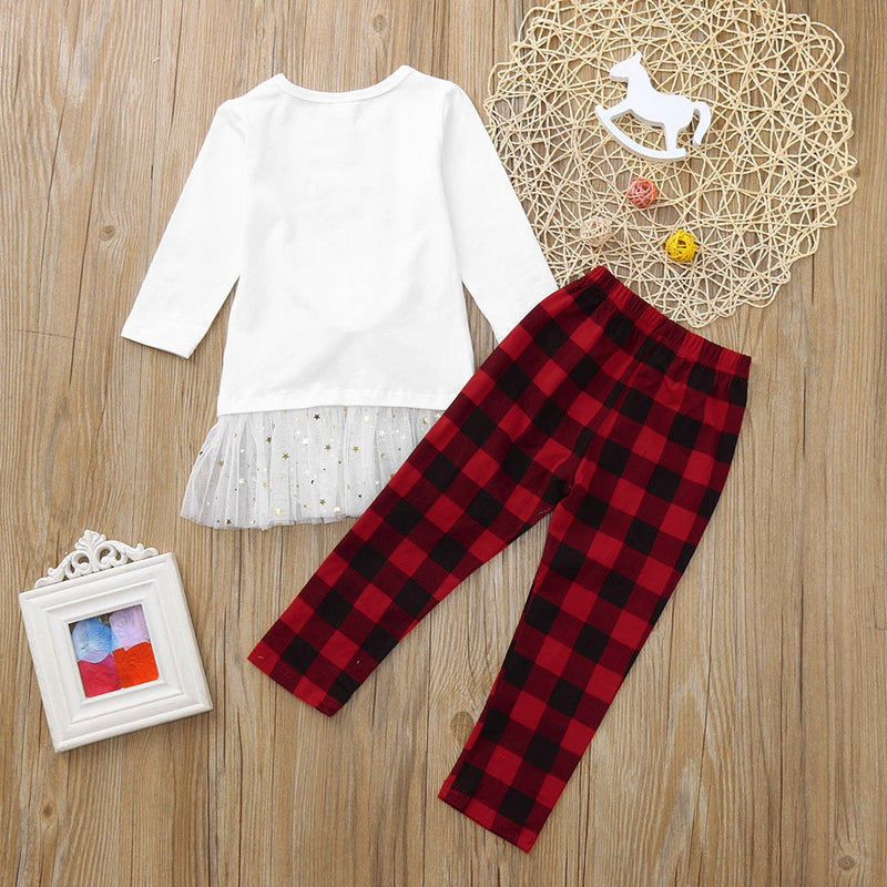 Toddler Kids Baby Girl Deer T shirt Tops+Plaid Pants Christmas Clothes Set