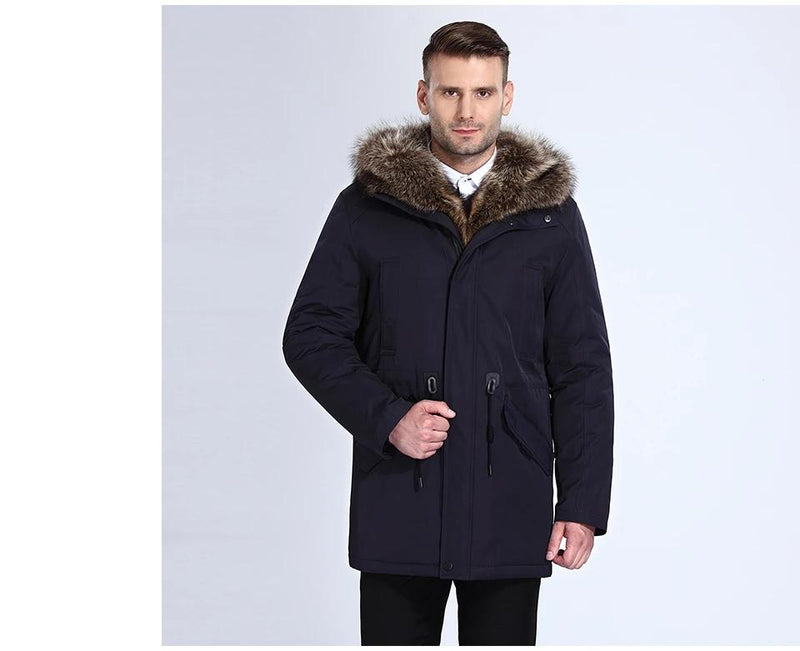 City Class Winter Fur Jacket Men Removable Hood Long Parka Mens Casual Jackets and Coats Cotton Fabric Camel Wool