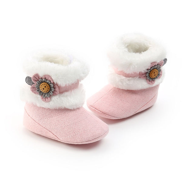 Baby Boots Girl Beautiful Flowers Plus Velvet Soft Bottom Baby Toddler Boots Soft Plush Warm Baby Boots