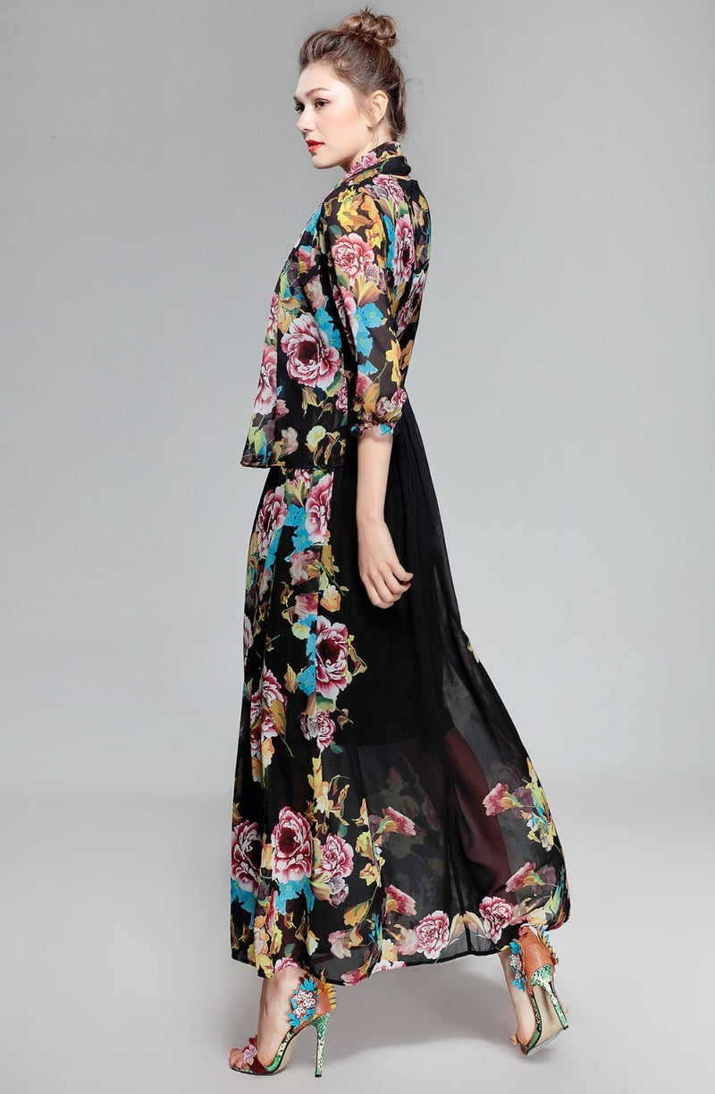 High Quality Spring New Arrival Vintage Bow Three Quarter Sleeve Elegant Print A-Line Ankle-Length Long Dress Women