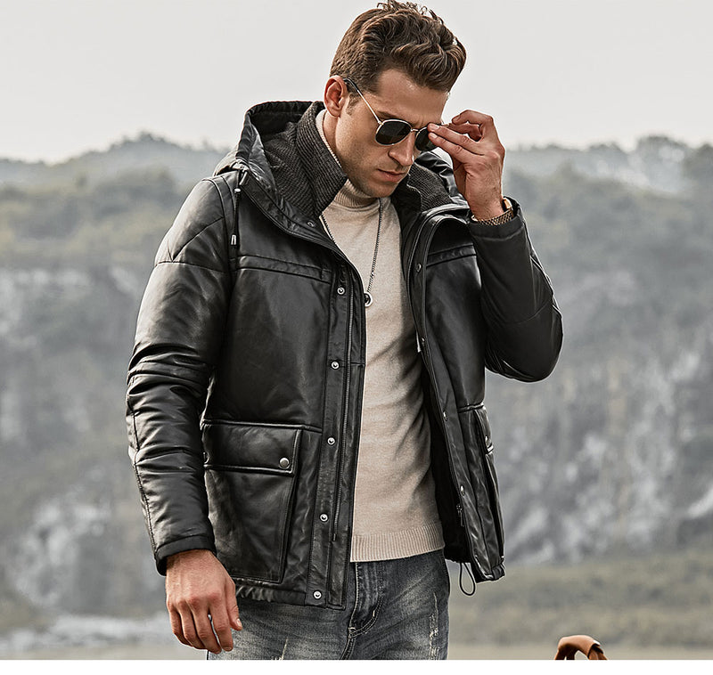 Men's Real Leather Down Jacket Men Genuine Lambskin Winter Warm Leather White Duck Down Coat with Removable Hood