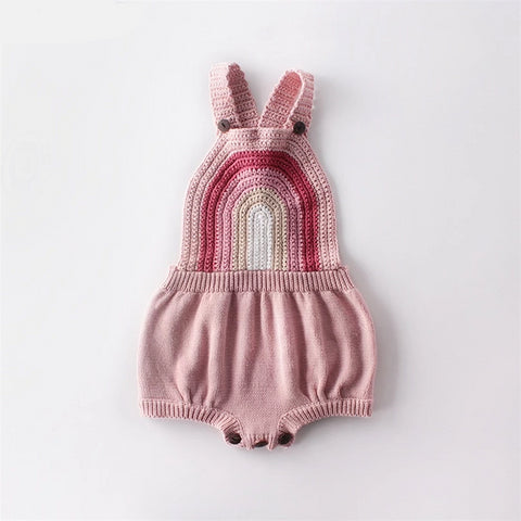 Baby Girl Clothes Knitted Baby Clothes Newborn Baby Girl Boy Romper Sleeveless Rainbow Infant Baby Jumpsuit For Girl Overalls