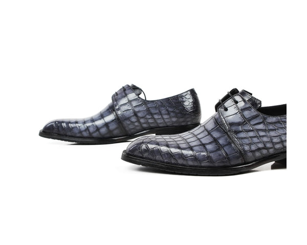 Classic Formal Footwear Man Fashion Style Genuine Crocodile Leather Derby Dress Shoes Plaid Handmade Men's Shoe